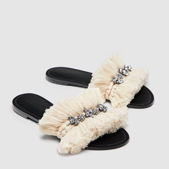 Zara Shoes Beaded Fringe Slides Poshmark